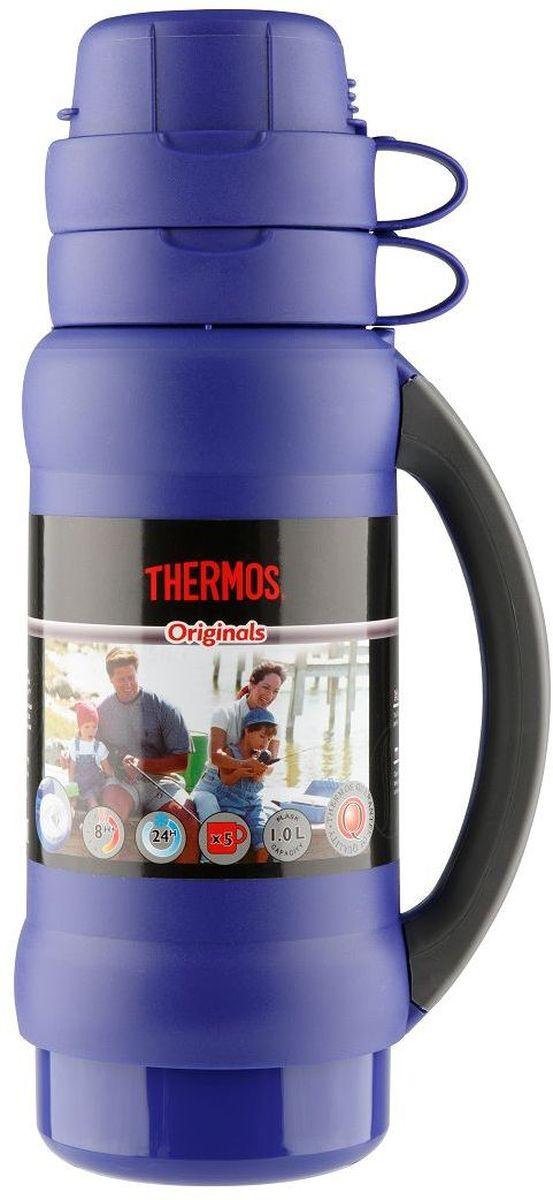 Термос Thermos, цвет: синий, 1 л. 273C923714Повышенная прочность стеклянной колбы. Визуальная защита от подделки - колба розового цвета. Полностью герметичен. Благодаря боковым стопперам, термос устойчив в горизонтальном положении.Объем: 1 л.