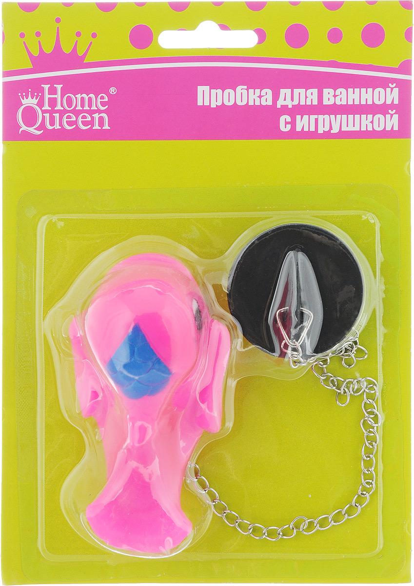 Пробка для ванны Home Queen Дельфин, цвет: розовый