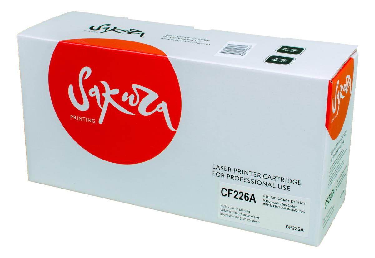 Sakura CF226A, Black тонер-картридж для HP LaserJet Pro M402n/M402dn/M402dw/M426dw/M426fdn/M426fdwSACF226AТонер-картридж Sakura CF226A для лазерных принтеров HP LaserJet Pro M402n/M402dn/M402dw/M426dw/M426fdn/M426fdw является альтернативным решением для замены оригинальных картриджей. Он печатает с тем же качеством и имеет тот же ресурс, что и оригинальный картридж. В картриджах компании Sakura используется химический синтезированный тонер, который в отличие от дешевого тонера из перемолотого полимера, не царапает, а смазывает печатающий вал, что приводит к возможности многократных перезаправок картриджей. Такой подход гарантирует долгий срок службы принтера, превосходное качество и стабильность печати.Тонер-картриджи Sakura производятся при строгом соответствии стандартам ISO 9001 и ISO 14001, что подтверждено международными сертификатами.
