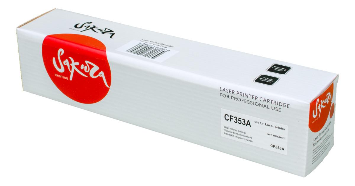 Sakura CF353A, Magenta тонер-картридж для HP LaserJet Pro M176/M177SACF353AТонер-картридж Sakura CF353A для лазерных принтеров HP LaserJet Pro M176/M177 является альтернативным решением для замены оригинальных картриджей. Он печатает с тем же качеством и имеет тот же ресурс, что и оригинальный картридж. В картриджах компании Sakura используется химический синтезированный тонер, который в отличие от дешевого тонера из перемолотого полимера, не царапает, а смазывает печатающий вал, что приводит к возможности многократных перезаправок картриджей. Такой подход гарантирует долгий срок службы принтера, превосходное качество и стабильность печати.Тонер-картриджи Sakura производятся при строгом соответствии стандартам ISO 9001 и ISO 14001, что подтверждено международными сертификатами.