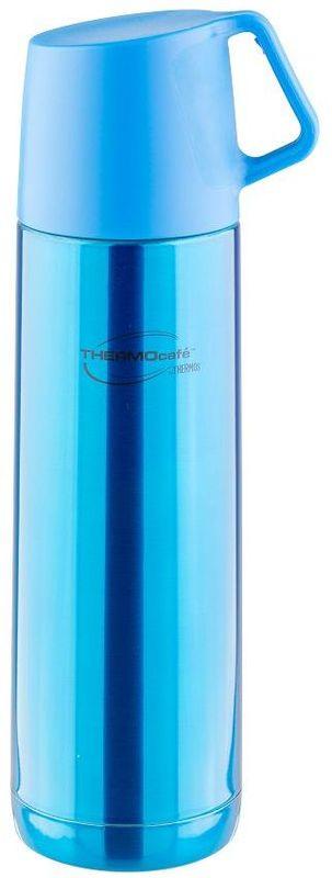 Термос Thermocafe By Thermos, цвет: голубой, 0,5 л. JF-50271457Термос JF-50 выполнен из нержавеющей стали, представлен в яркой расцветке.В пробке использован новый механизм открытия/закрытия. Имеется очень удобная пластиковая крышка-чашка с ручкой.Объем: 500 мл.