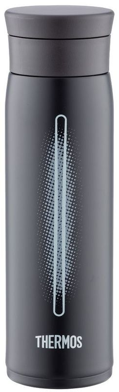 Термос Thermos, цвет: черный, 600 мл. JMZ600914538Thermos это суперлегкий и супертонкий термос, выполненный из стали, он весит всего 190 г, подходит для холодных и горячих напитков.У термоса имеется фиксатор от случайного открытия.Крышка позволяет использовать лед - при наливании специальное сито не дает кубикам выпасть в чашку.Термос также подходит для автомобильных держателей.Объем: 600 мл.