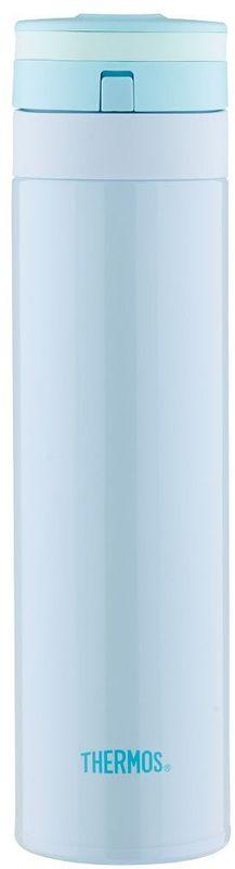 Термос Thermos, цвет: голубой, 450 мл. JNS-450935755Термос JNS-450 это суперлегкий и супертонкий термос, выполненный из стали, он весит всего 190 г.У термоса имеется фиксатор от случайного открытия, крышка откидывается полностью и фиксируется. Он также подходит для автомобильных держателей.Объем: 450 мл.