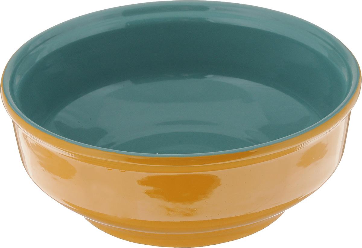 Салатник Борисовская керамика Русский, цвет: желтый, бирюзовый, 500 млРАД00000471_желтый, бирюзовыйСалатник Борисовская керамика Русский выполнен из керамики, произведенной из экологически чистой красной глины с покрытием пищевой глазурью. Изделие можно использовать для подачи супов, каш, мюсли, хлопьев с молоком, также подойдет для сервировки салатов, закусок, соусов и многого другого.Посуда Борисовская керамика подчеркнет прекрасный вкус хозяйки и станет отличным приобретением для кухни. Можно использовать в духовке и микроволновой печи.Диаметр салатника (по верхнему краю): 16 см. Высота салатника: 6 см.