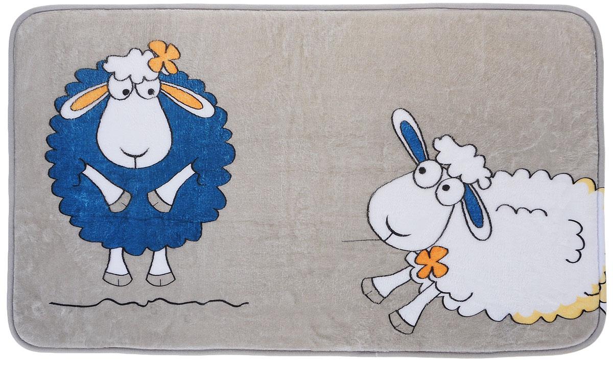 Коврик для ванной комнаты Tatkraft Funny Sheep, 50 см х 80 см14947Коврик для ванной комнаты Tatkraft Funny Sheep изготовлен из микрофибры Ultra Soft - мягкого, приятного на ощупь материала. Коврик отлично поглощает и впитывает влагу. Основание противоскользящее. Яркий красочный рисунок в виде забавных овечек внесет оригинальную нотку в интерьер ванной комнаты. Коврики Tatkraft - прекрасное решение для ванной комнаты.