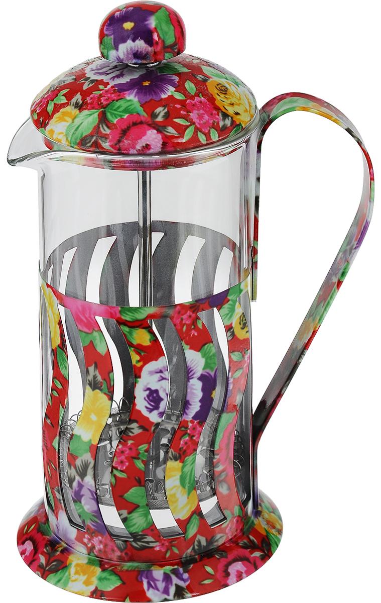 Френч-пресс Mayer & Boch, 350 мл. 2002820028Френч-пресс Mayer & Boch - это отличный заварочный чайник для ежедневного использования, который позволит быстро приготовить ароматный чай или кофе. Емкость чайника выполнена из жаропрочного стекла и снабжена подставкой из нержавеющей стали с цветочным узором. Чайник с плотной крышкой и удобной ручкой имеет специальный пресс-фильтр для отделения чайных листьев от воды. После заваривания чая фильтр не надо вынимать, просто медленно опускайте его вниз - вся заварка уйдет вниз, а вверху останется очищенный от заварки напиток, готовый к употреблению. Конструкция носика антикапля удобна для разливания напитков в чашки. Заваривание чая в чайнике Mayer & Boch - это приятное и легкое занятие. Заварочный чайник займет достойное место на вашей кухне. Современный дизайн полностью соответствует последним модным тенденциям в создании кухонной утвари. Можно мыть в посудомоечной машине. Диаметр основания: 9 см. Диаметр колбы: 7 см. Высота френч-пресса: 18,5 см.