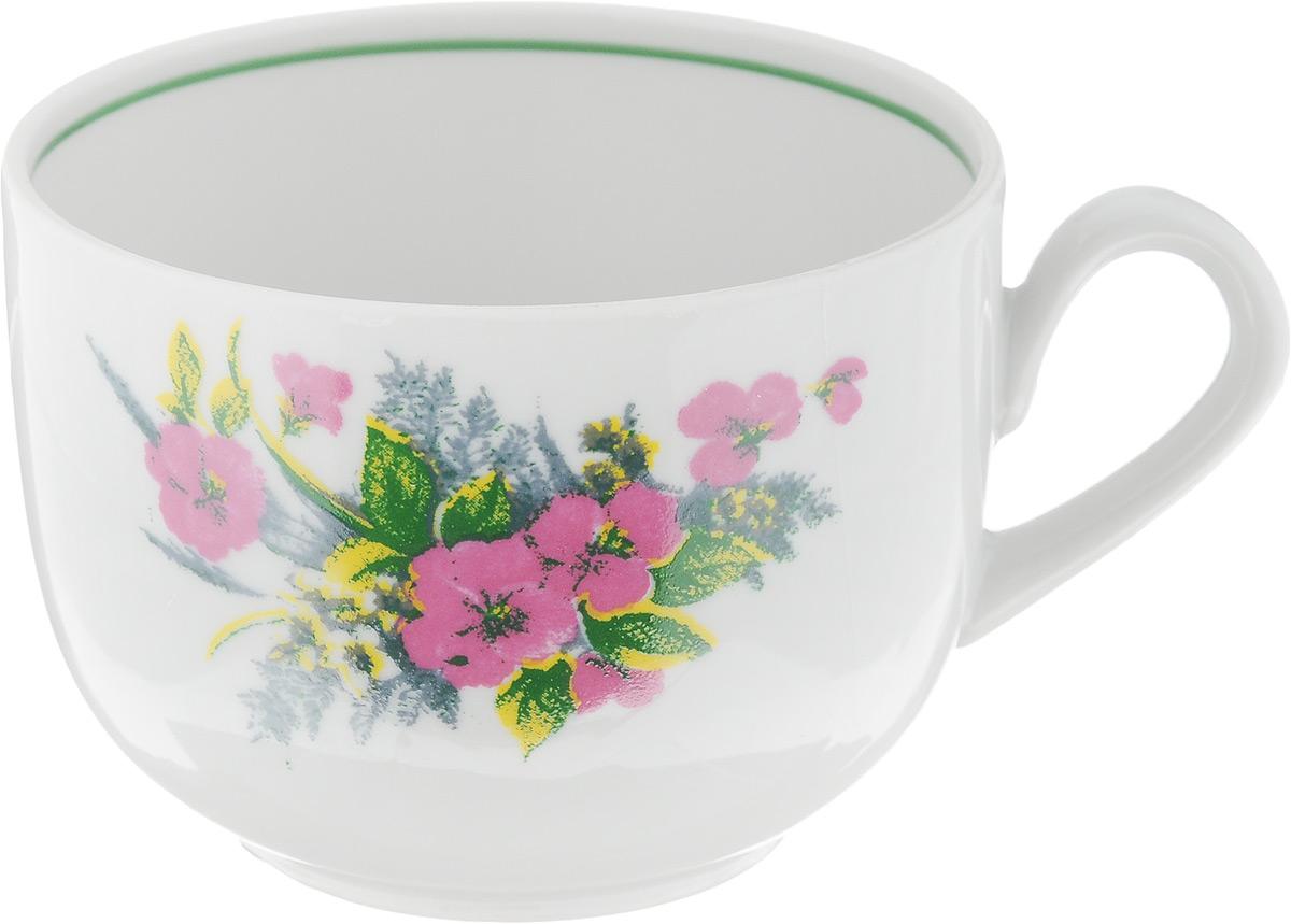 Чашка чайная Фарфор Вербилок Август. Розовые цветы, 300 мл767253К_розовые цветыЧашка Фарфор Вербилок Август. Розовые цветы способна украсить любое чаепитие. Изделие выполнено из высококачественного фарфора. Посуда из такого материала позволяет сохранить истинный вкус напитка, а также помогает ему дольше оставаться теплым. Внешние стенки дополнены красочным цветочным рисунком.Диаметр по верхнему краю: 8,5 см. Высота чашки: 6,5 см.