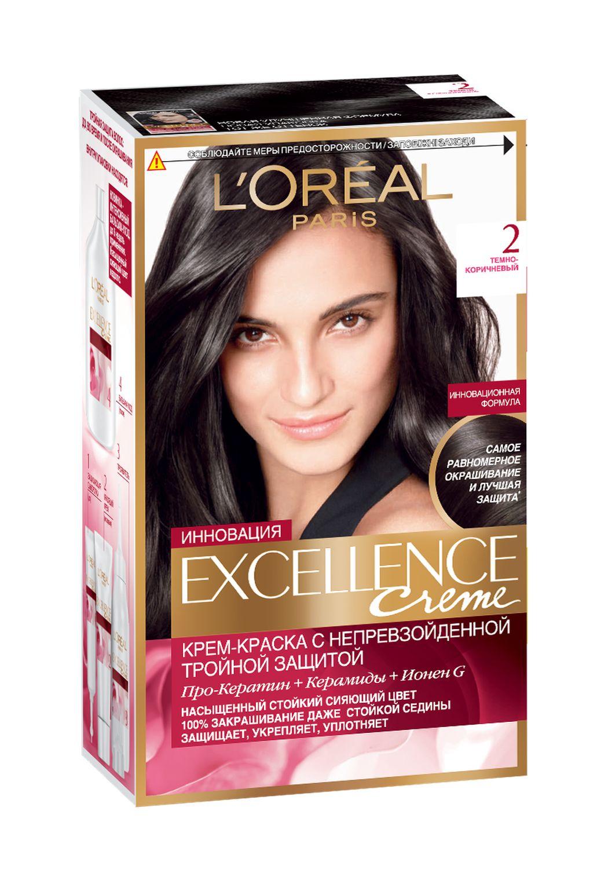 LOreal Paris Стойкая крем-краска для волос Excellence, оттенок 2, Темно-коричневыйA7359328Крем-краска для волос Экселанс защищает волосы до, во время и после окрашивания. Уникальная формула краскииз Керамида, Про-Кератина и активного компонента Ионена G, которые обеспечивают 100%-ное окрашивание седины и способствуют длительному сохранению интенсивности цвета. Сыворотка, входящая в состав краски, оказывает лечебное действие, восстанавливая поврежденные волосы, а густая кремовая текстура краски обволакивает каждый волос, насыщая его интенсивным цветом. Специальный бальзам-уход делает волосы плотнее, укрепляет их, восстанавливая естественную эластичность и силу волос.В состав упаковки входит: защищающая сыворотка (12 мл), флакон-аппликатор с проявителем (72 мл), тюбик с красящим кремом (48 мл), флакон с бальзамом-уходом (60 мл), аппликатор-расческа, инструкция, пара перчаток.1. Укрепляет волосы 2. Защищает их 3. Придает волосам упругость 3. Насыщеннный стойкий сияющий цвет 4. Закрашивает до 100% седых волос