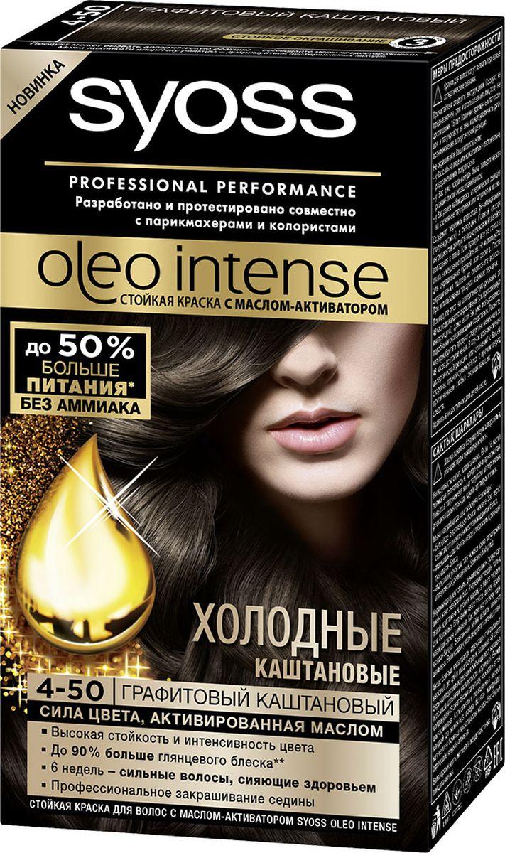 Syoss Oleo Intense Краска для волос 4-50 Графитовый каштановый 115 мл09393500890Откройте для себя первую стойкую краску с маслом-активатором от Syoss, разработанную и протестированную совместно с парикмахерами и колористами. Насыщенная формула крем-масла наносится без подтеков. 100% чистые масла работают как усилитель цвета: