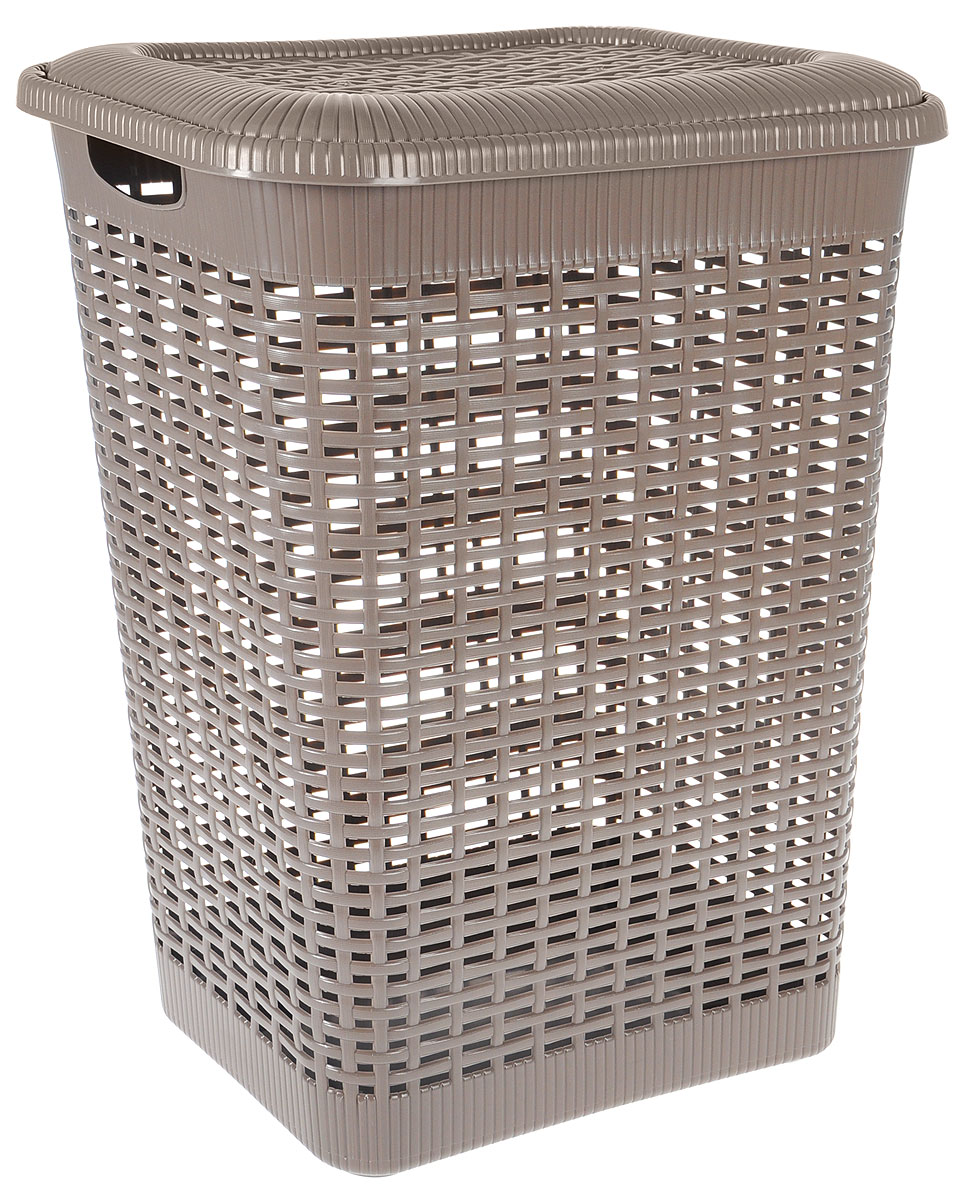 Корзина для белья Econova, цвет: тауп, 50 лС12934_коричневыйКорзина для белья Econova изготовлена из пластика с эффектом плетения.Оснащена двумя ручками для удобной переноски и откидной крышкой. Корзина легкаяи надежная, с вентиляционными отверстиями в стенках.Пластиковые корзины - идеальный вариант для влажного помещения, они неподвержены воздействию плесени, деформации, коррозии. Прекрасно подходят дляхранениятонких, дорогих вещей, так как не оставляют зацепок и зазубринок, которые могутбезнадежно испортить вещь.