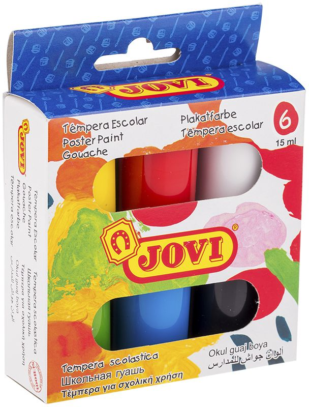 Jovi Гуашь 6 цветов 15 мл520Школьная гуашь Jovi с высокой покрывающей способностью, образует матовый, плотный, непрозрачный слой краски. Идеальна для работы по любой пористой поверхности, такой как плотная (не глянцевая) бумага, ватман, картон, дерево, для раскрашивания просохших фигурок из пасты для лепки, застывающей на воздухе, или из папье-маше. Гуашь - это практически универсальные краски, которые позволяют рисовать в различных техниках. Если сильно развести её водой, то получится почти акварельный рисунок. Если использовать сухую жесткую кисть, то будет эффект фактически масляной живописи. Гуашь имеет густую текстуру и экономичный расход. Шесть ярких базовых цветов (белый, желтый, красный, зеленый, синий, черный) в баночках по 15 мл.