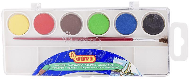 Jovi Акварель 6 цветов800/6Высококачественная акварель Jovi предназначена для рисования дома, в школе, вхудожественных студиях, подходит для разных техникрисования. Шесть базовых цветов (желтый, красный, зеленый, синий, коричневый,черный).Краски в коробке с кюветами для воды и кистью.Спрессованные таблетки диаметром 22 мм (вес 2,9 г) с высоким содержанием пигмента. Гораздо более экономичные, чем полусухая акварель в кюветах.Легко разводятся: при добавлении небольшого количества воды цвета получаются оченьнасыщенными и яркими, а увеличение количества водыприводит к эффектам, типичным для техники акварели.Хорошо ложатся на поверхность. Могут использоваться для рисования на различныхповерхностях: бумаге различной плотности, картоне, дляраскрашивания просохших фигурок из пасты для лепки, застывающей на воздухе, или изпапье-маше.Краски отстирываются с большинства видов тканей.