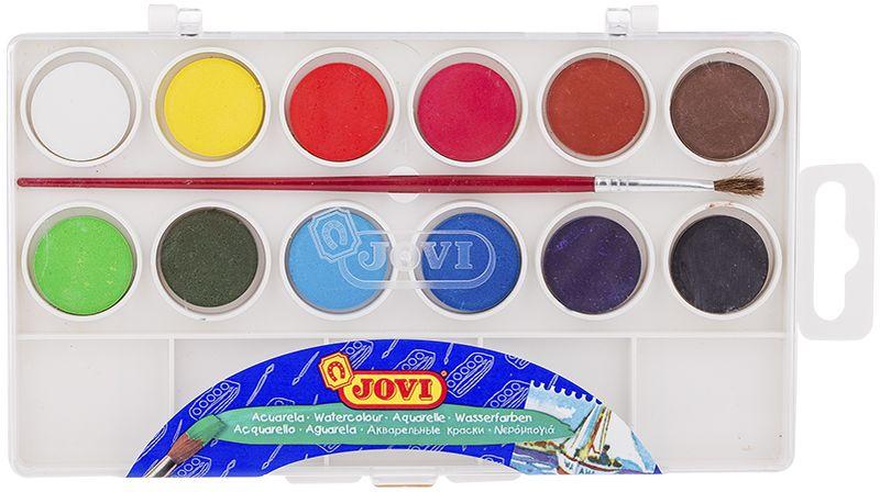 Jovi Акварель 12 цветов 800/12800/12Высококачественная акварель Jovi предназначена для рисования дома, в школе, вхудожественных студиях, подходит для разных техникрисования. 12 базовых цветов. Краски в коробке с кюветами для воды и кистью.Спрессованные таблетки диаметром 22 мм (вес 2,9 г) с высоким содержанием пигмента.Гораздо более экономичные, чем полусухая акварель вкюветах.Легко разводятся: при добавлении небольшого количества воды цвета получаются оченьнасыщенными и яркими, а увеличение количества водыприводит к эффектам, типичным для техники акварели.Хорошо ложатся на поверхность, могут использоваться для рисования на различныхповерхностях: бумаге различной плотности, картоне, дляраскрашивания просохших фигурок из пасты для лепки, застывающей на воздухе, или изпапье-маше.Краски отстирываются с большинства видов тканей.