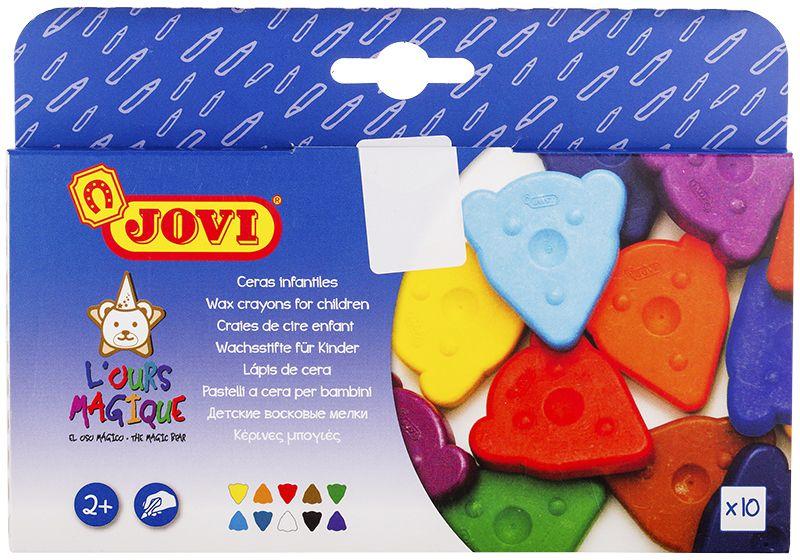 Jovi Мелки восковые фигурные 10 цветов941Плоские треугольные мелки Jovi в виде мордочек медвежат созданы для самых маленьких детей.Игровая и при этом эргономичная форма привлекает внимание ребенка, позволяет удобно держать мелок в руке и рисовать любой его гранью или всей плоскостью, быстро покрывая большие поверхности. Мелки мягко и без усилий рисуют на любой бумаге, кроме бумаги с глянцевой поверхностью, поэтому ребенку легко будет проводить первые штрихи и линии, а также раскрашивать.Состав: воск, пигменты, полиэтилен, карбонат кальция, пластификатор.