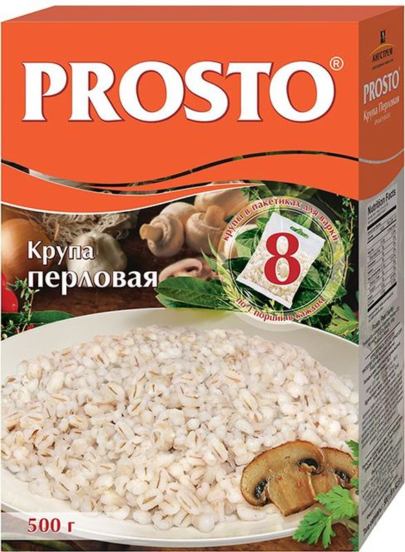 Prosto перловая крупа в пакетиках для варки, 8 шт по 62,5 г prosto ассорти 4 риса в пакетиках для варки 8 шт по 62 5 г