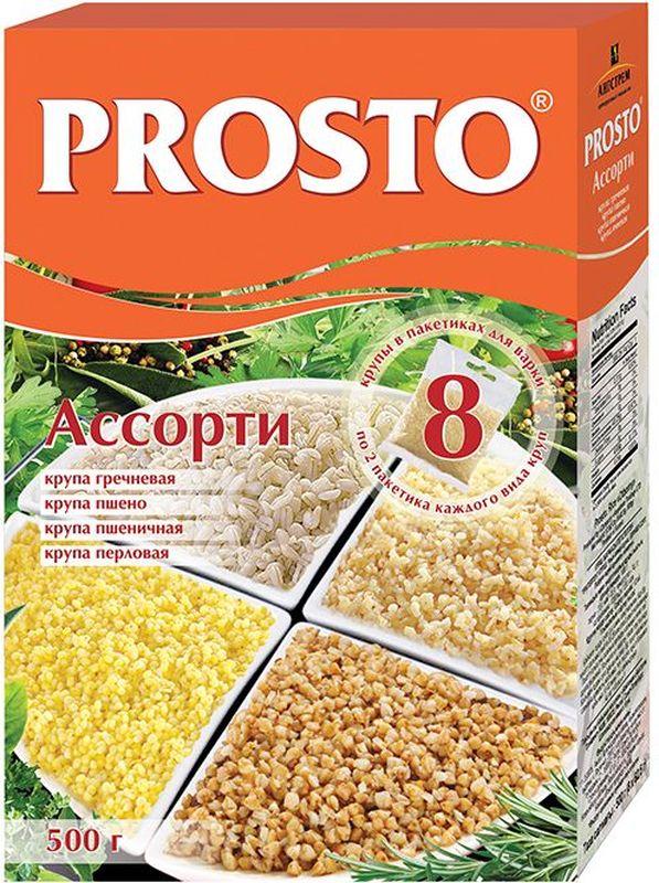 Prosto ассорти круп греча, пшено, пшеничная, перловка в пакетиках для варки, 8 шт по 62,5 г футболка lin show 370