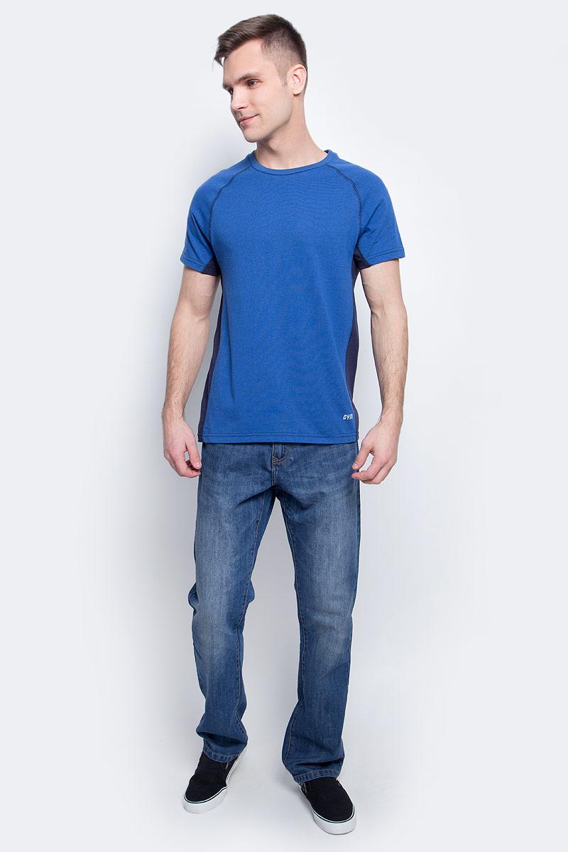 Футболка мужская Sela, цвет: синий. Ts-2411/002-7111. Размер M (48) свитшот мужской sela цвет темный аква st 213 118 7351 размер m 48