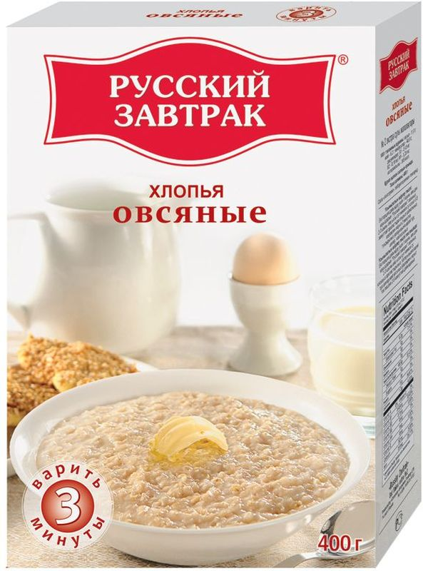 Русский Завтрак хлопья овсяные экстра №2, 400 г80783Хлопья Русский Завтрак - это лучший выбор для вашего завтрака! Овсяные хлопья - это кладезь углеводов, клетчатки и белка, которые обогатят ваш организм энергией и бодростью на весь день.Всего 3 минуты - и вкусный Русский Завтрак готов! Ничего лишнего, только польза!Лайфхаки по варке круп и пасты. Статья OZON Гид