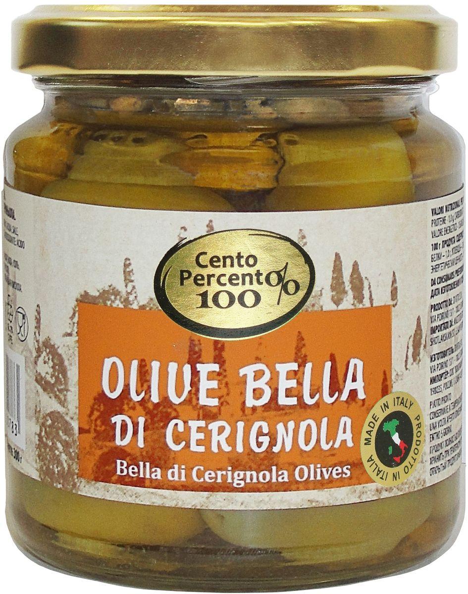 Cento Percento оливки Ла Белла ди Чериньола, 300 г оливки чёрные delphi с косточкой в рассоле размер оливок 91 100 4 25 кг