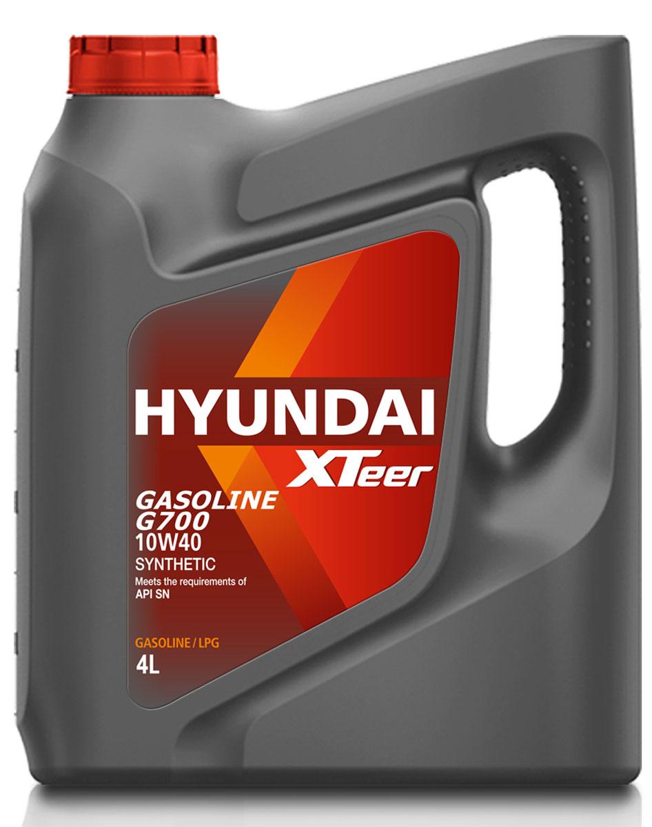 Масло моторное Hyundai Xteer Gasoline, синтетическое, 10W-40, 4 л1041014XTeer Gasoline G-700 10W40 передовое синтетическое моторное масло для автомобилей премиум-класса, разработанное с применением новейшихпередовых технологий. XTeer Gasoline 10W40 соответствует требованиям современной градации новейших моторных масел API SN. Обеспечивает максимальную защиту и смазку всех типов бензиновых двигателей легковых автомобилей.