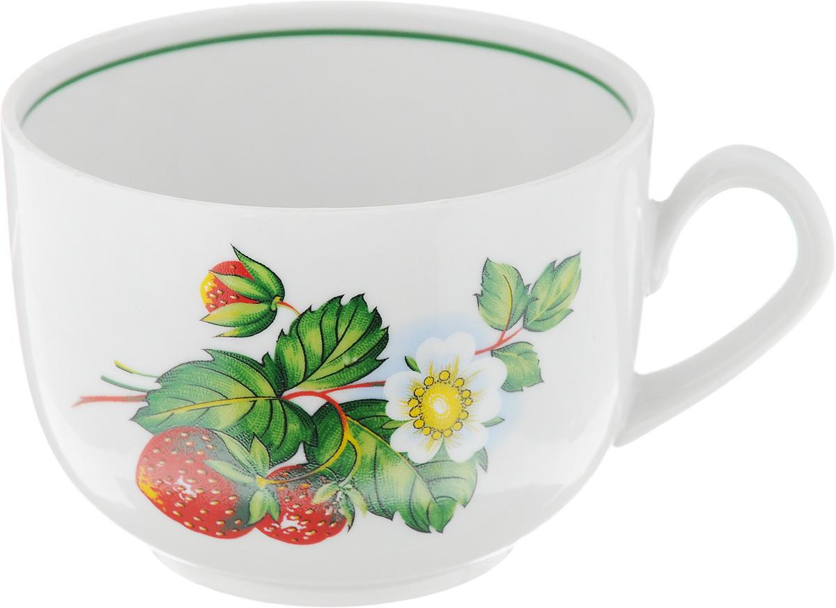 Чашка чайная Фарфор Вербилок Август. Земляника, 300 мл салатник фарфор вербилок цветущая земляника 360 мл