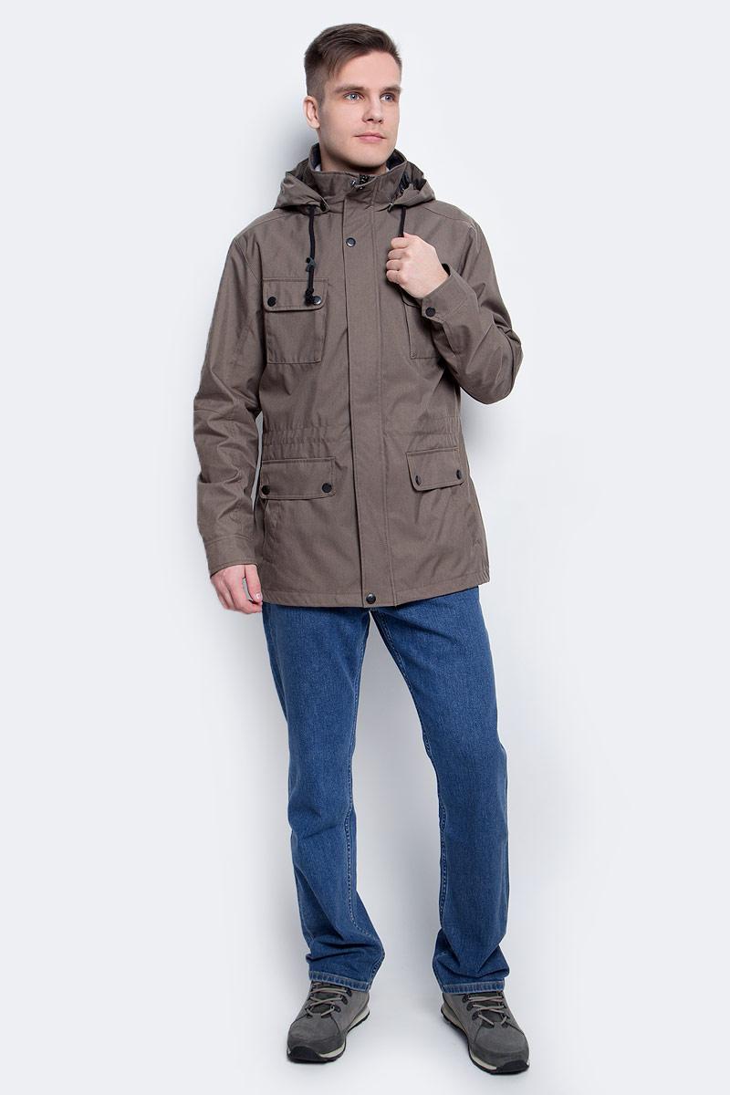 Ветровка мужская Luhta, цвет: коричневый. 737553365LV. Размер 48737553365LVВетровка мужская Luhta выполнена из полиэстера. Модель с капюшоном и длинными рукавами застегивается на молнию и кнопки.