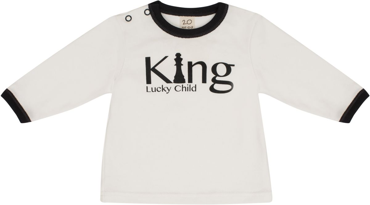 Распашонка для мальчика Lucky Child, цвет: молочный, темно-серый. 29-12М. Размер 86/92 кофта для мальчика lucky child шахматный турнир цвет молочный темно серый 29 18мф размер 86 92