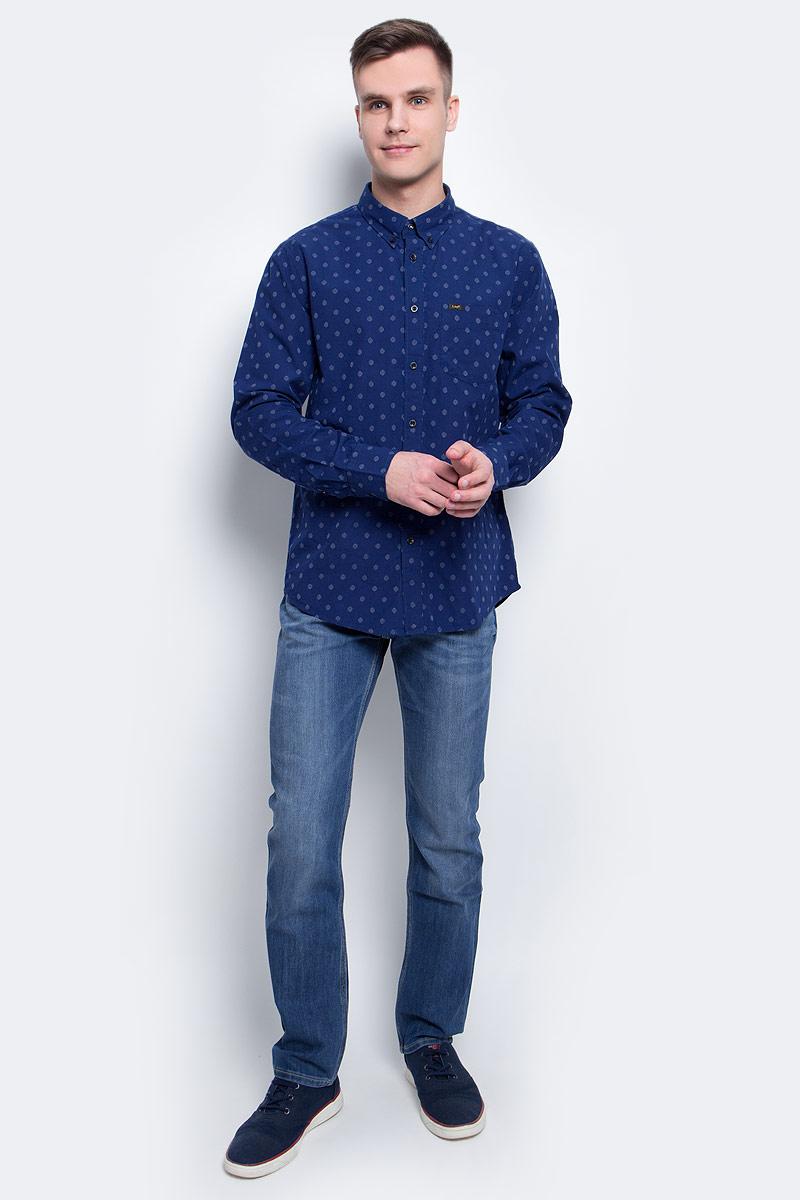 Рубашка мужская Lee, цвет: синий. L880IFPS. Размер XXL (54) рубашка мужская levi s® цвет синий красный белый 6581602170 размер xxl 54