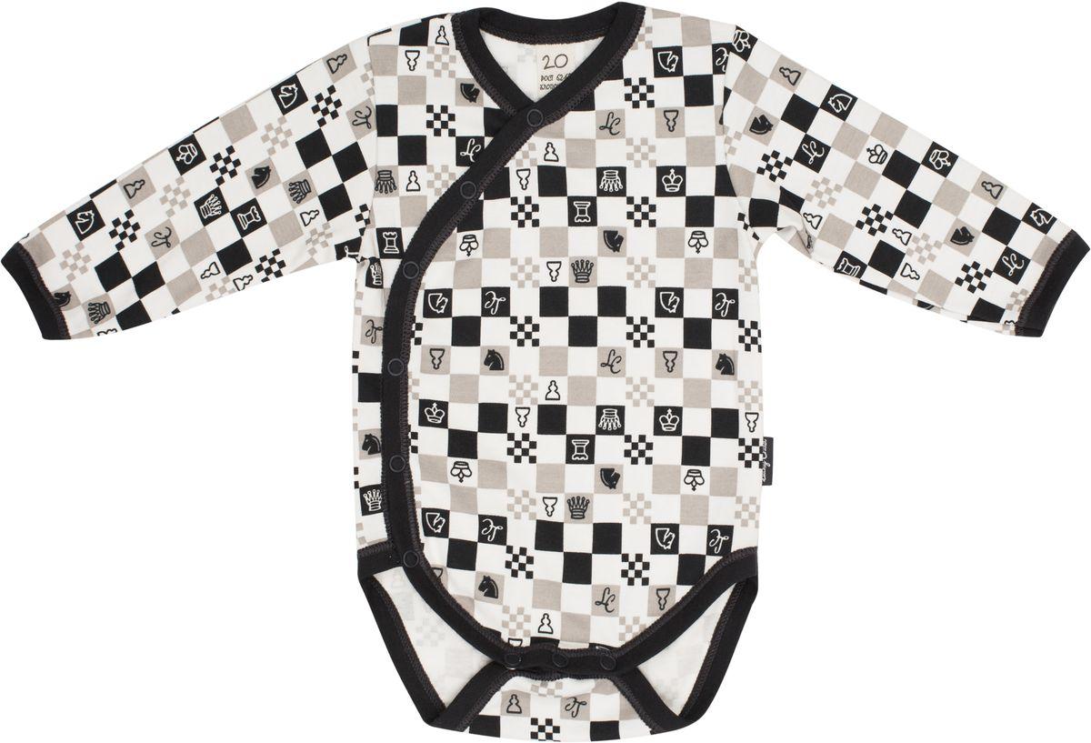 Боди детское Lucky Child Шахматный турнир, цвет: молочный, темно-серый, бежевый. 29-19. Размер 80/86