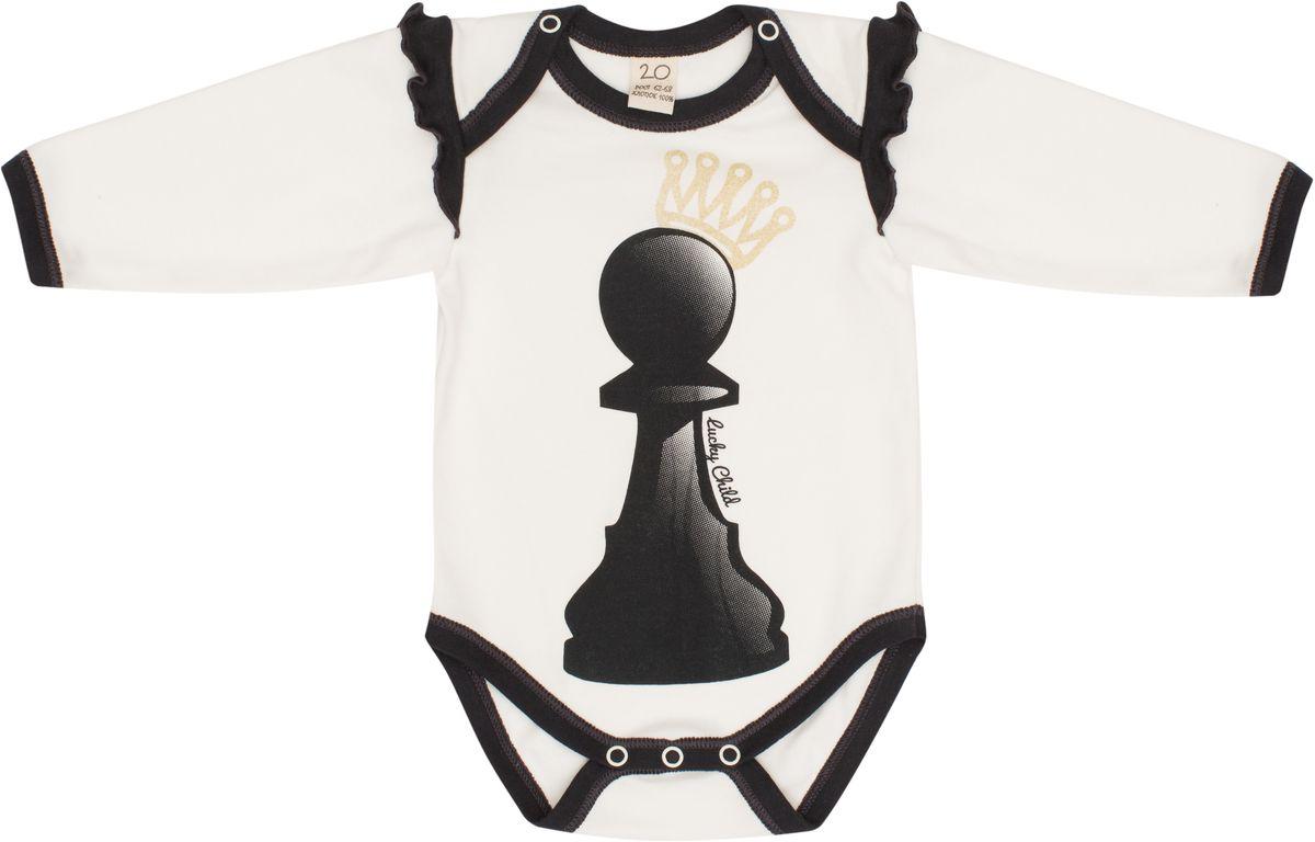Боди для девочки Lucky Child Шахматный турнир, цвет: молочный, темно-серый. 29-19Д. Размер 80/86 праздничный атрибут ystd010 50 26298