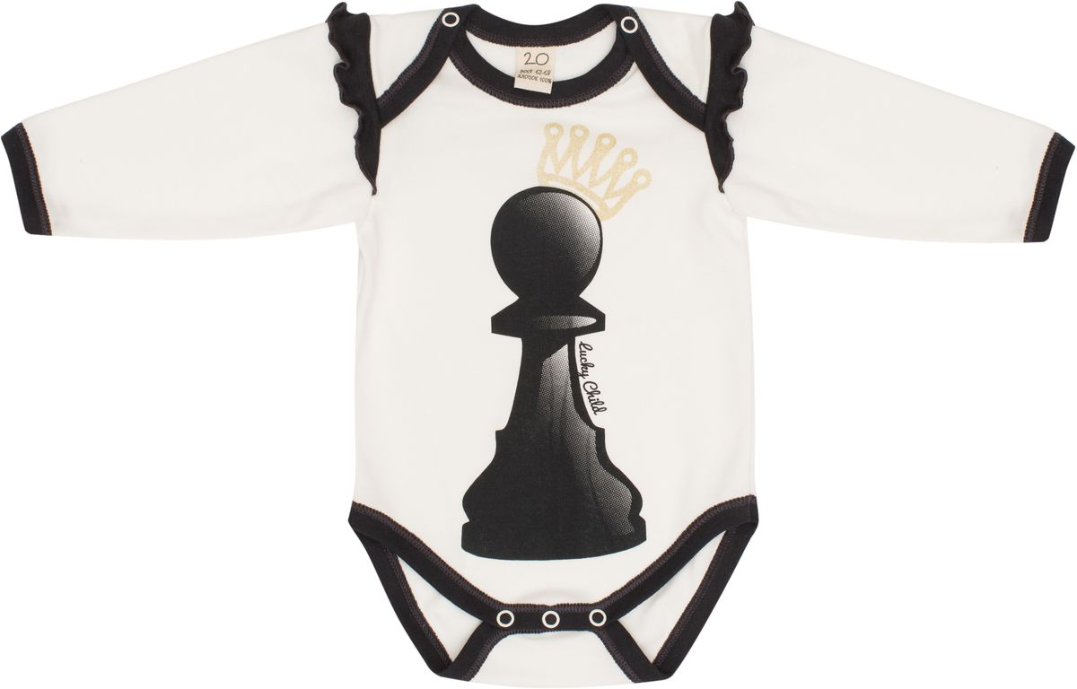 Боди для девочки Lucky Child Шахматный турнир, цвет: молочный, темно-серый. 29-19Д. Размер 80/86