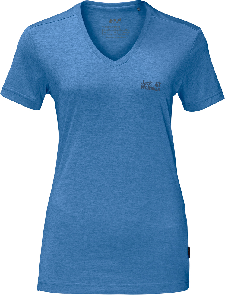 Футболка женская Jack Wolfskin Crosstrail T W, цвет: голубой. 1801692-1255. Размер L (50)1801692-1255Футболка женская Crosstrail T W изготовлена из 100% полиэстера. Ткань приятно охлаждает кожу во время интенсивных нагрузок и предотвращает появление неприятного запаха. Когда вы выкладываетесь на все сто процентов во время тренировок или походов, ваша футболка активна - она быстро отводит влагу наружу и неизменно обеспечивает ощущение сухости при носке. Модель имеет V-образный вырез горловины и короткие стандартные рукава. Футболка дополнена логотипом бренда.