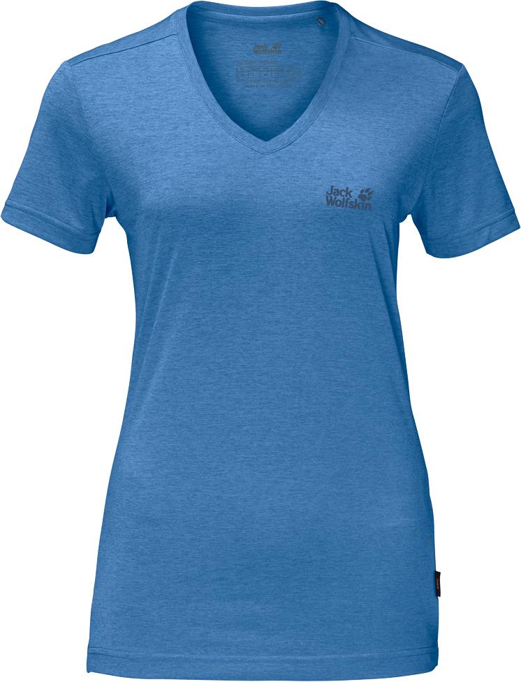 Футболка женская Jack Wolfskin Crosstrail T W, цвет: голубой. 1801692-1255. Размер L (50) платье jack wolfskin wahia dress цвет коралловый 1502892 2043 размер xl 50 52