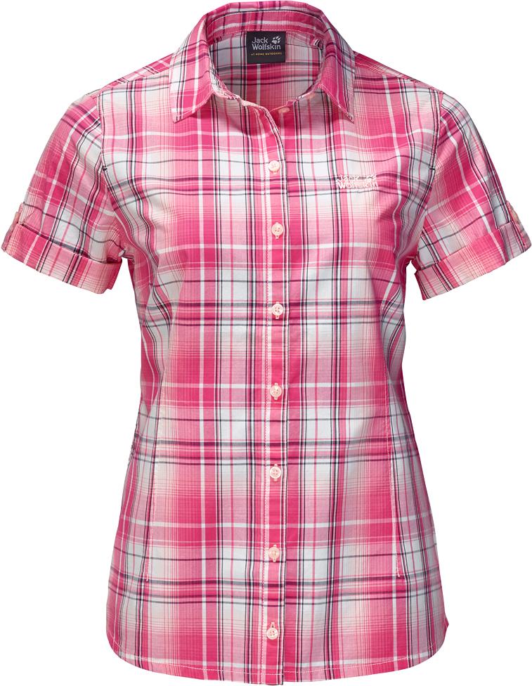Рубашка женская Jack Wolfskin Maroni River Shirt W, цвет: розовый. 1402411-7821. Размер L (50)1402411-7821Рубашка Maroni River Shirt W выполнена из 100% натурального хлопка. В ней вы будете чувствовать себя комфортно в жаркую погоду. Модель отлично вентилируется и дает ощущение прохлады. Рубашка застегивается на пуговицы, имеет отложной воротник и короткие стандартные рукава. Модель дополнена принтом в клетку и логотипом бренда. Такая рубашка идеально подходит для путешествий в жаркие страны и повседневной носки в летний сезон.