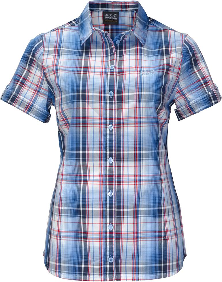 Рубашка женская Jack Wolfskin Maroni River Shirt W, цвет: синий. 1402411-7630. Размер XL (52/54)1402411-7630Рубашка Maroni River Shirt W выполнена из 100% натурального хлопка. В ней вы будете чувствовать себя комфортно в жаркую погоду. Модель отлично вентилируется и дает ощущение прохлады. Рубашка застегивается на пуговицы, имеет отложной воротник и короткие стандартные рукава. Модель дополнена принтом в клетку и логотипом бренда. Такая рубашка идеально подходит для путешествий в жаркие страны и повседневной носки в летний сезон.