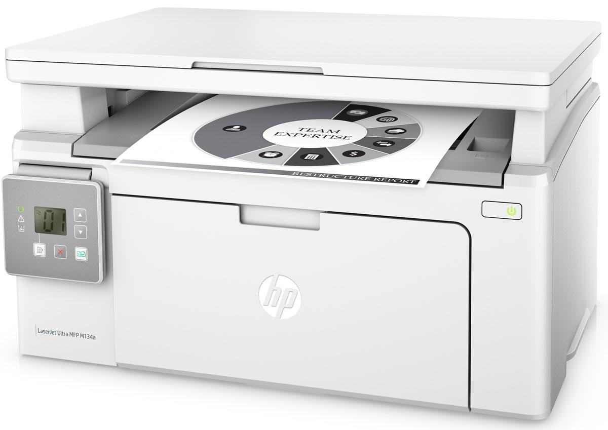 HP LaserJet Ultra M134a МФУG3Q66AОцените преимущества экстремально низкой стоимости печати и высокой производительности МФУ HP LaserJet Ultra M134, которое поставляется с тремя картриджами для печати до 6900 страниц. Печатайте документы с постоянным профессиональным качеством, не выходя за рамки бюджета.Стоимость печати одной страницы на HP LaserJet Ultra в 4 раза ниже по сравнению с моделями предыдущего поколения. Благодаря предварительно установленному картриджу HP вы сможете приступить к печати сразу после распаковки принтера.Это МФУ объединяет в себе возможности печати, сканирования и копирования, при этом занимает совсем немного места. Вам не придется долго ждать - печать до 22 страниц в минуту, печать первой страницы всего за 7,3 секунды.Экономьте электроэнергию благодаря технологии HP Auto-On/Auto-Off. Управляйте заданиями напрямую на принтере. Для удобства он оснащен двухстрочным ЖК-дисплеем.Подключайте лазерный принтер HP напрямую к компьютеру через высокоскоростной разъем USB 2.0.Черный тонер обеспечивает высокую контрастность черно-белых текстов, шрифтов и графических изображений. Датчики контроля помогут отслеживать количество обработанных страниц, а специальная технология позволит оптимизировать потребление расходных материалов, чтобы печатать больше.Быстро заменяйте картриджи с автоматическим удалением блокировки и легко открывающимися корпусами.