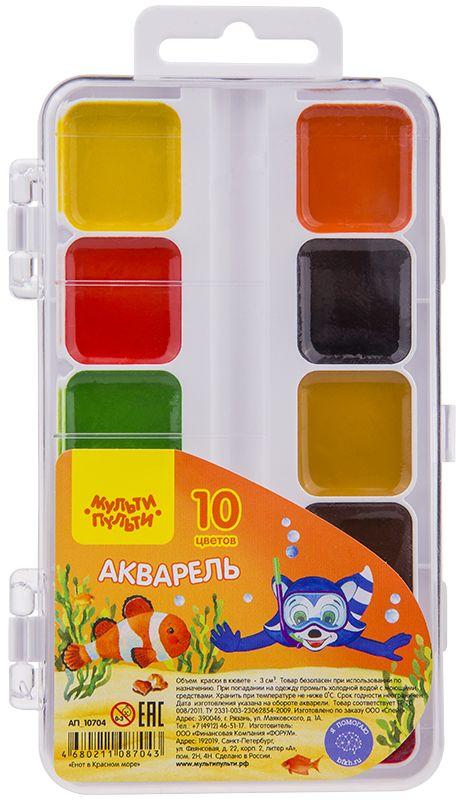 Мульти-Пульти Акварель Енот в Красном море 10 цветов карандаши восковые мелки пастель мульти пульти карандаши цветные трехгранные енот в испании 18 цветов