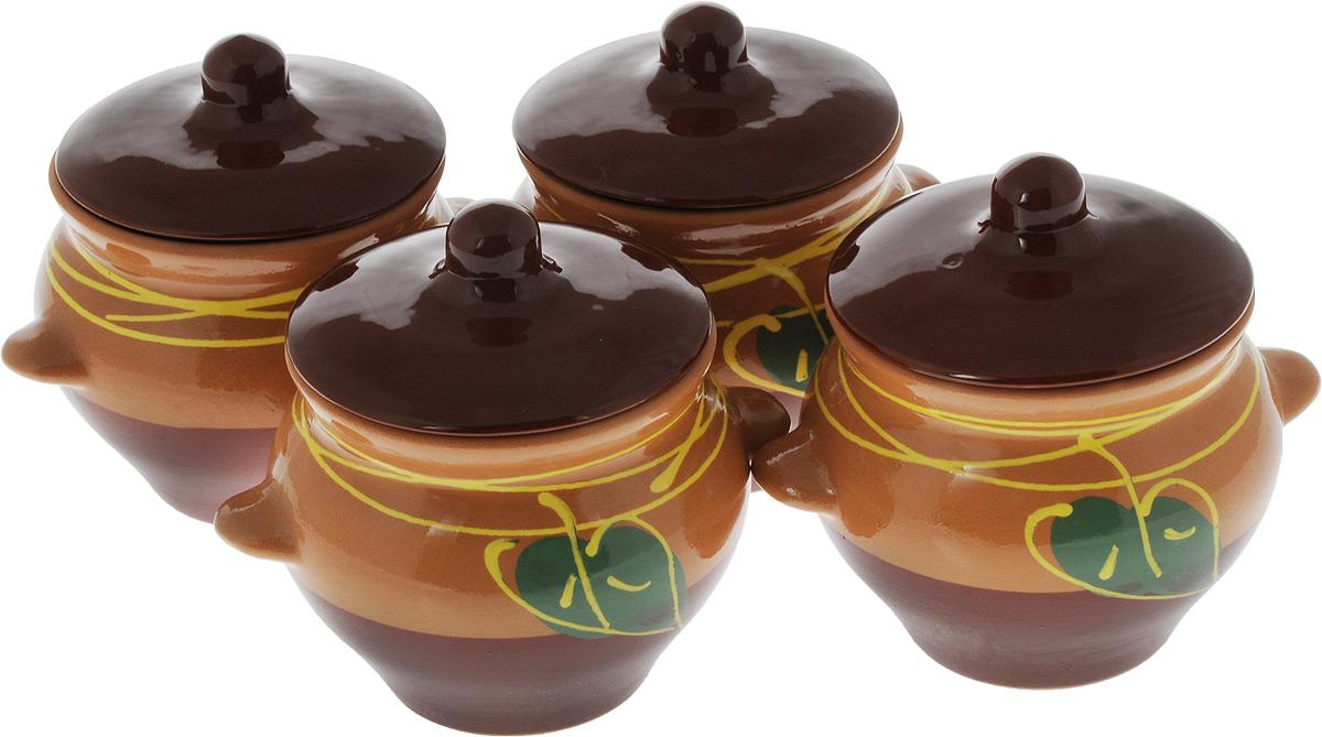 Набор горшочков для запекания Борисовская керамика Стандарт, с крышками, 500 мл, 4 шт набор горшочков для запекания борисовская керамика стандарт с крышками цвет коричневый зеленый белый 500 мл 4 шт