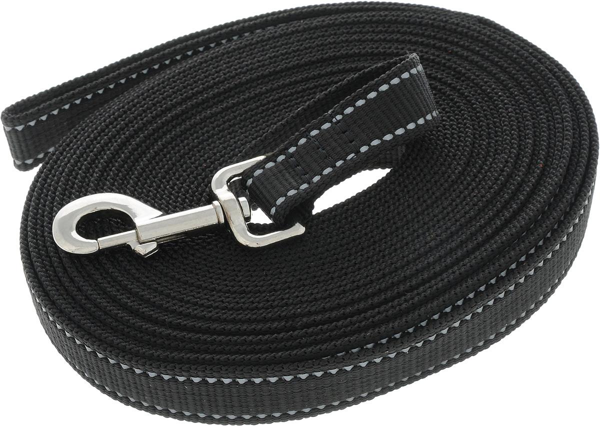 Поводок капроновый для собак Аркон, цвет: черный, ширина 2,5 см, длина 10 мпк10м25_черныйПоводок для собак Аркон изготовлен из высококачественного цветного капрона и снабжен металлическим карабином. Изделие отличается не только исключительной надежностью и удобством, но и привлекательным современным дизайном.Поводок - необходимый аксессуар для собаки. Ведь в опасных ситуациях именно он способен спасти жизнь вашему любимому питомцу. Иногда нужно ограничивать свободу своего четвероногого друга, чтобы защитить его или себя от неприятностей на прогулке. Длина поводка: 10 м.Ширина поводка: 2,5 см.