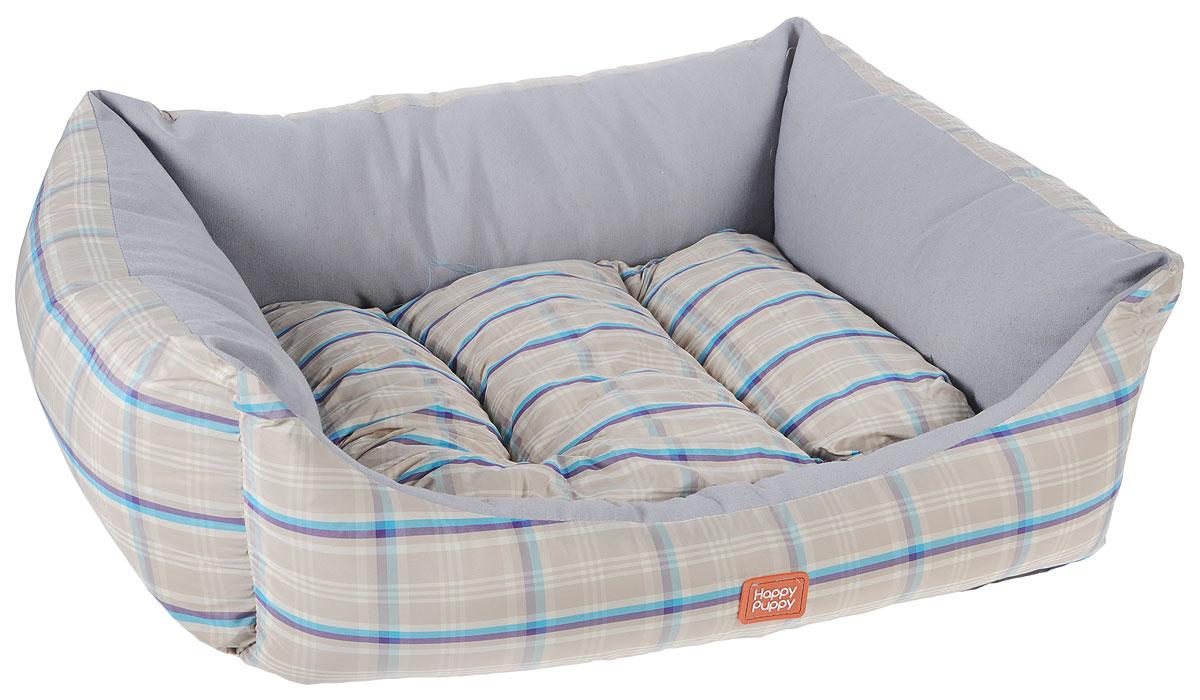 """Лежак для собак Happy Puppy """"Комфорт-2"""", цвет: бежевый, серый, 48 x 39 x 15 см"""