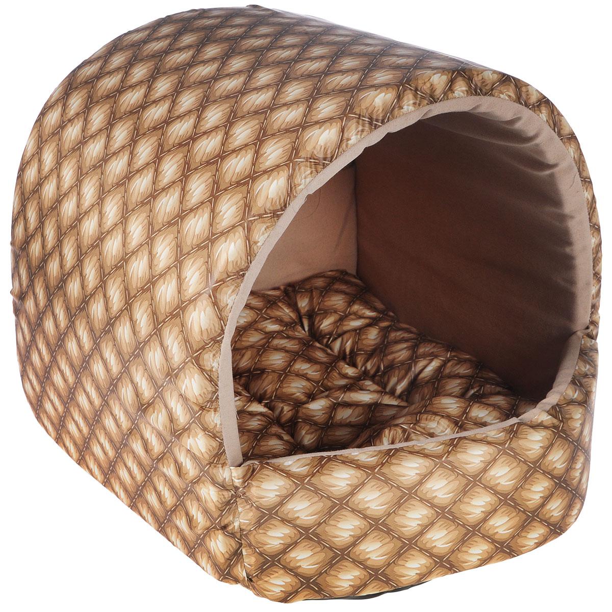 Домик для собак Happy Puppy Шотландия, цвет: песочный, бежевый, 37 x 37 x 40 см домик для собак happy puppy классик 37 x 37 x 40 см