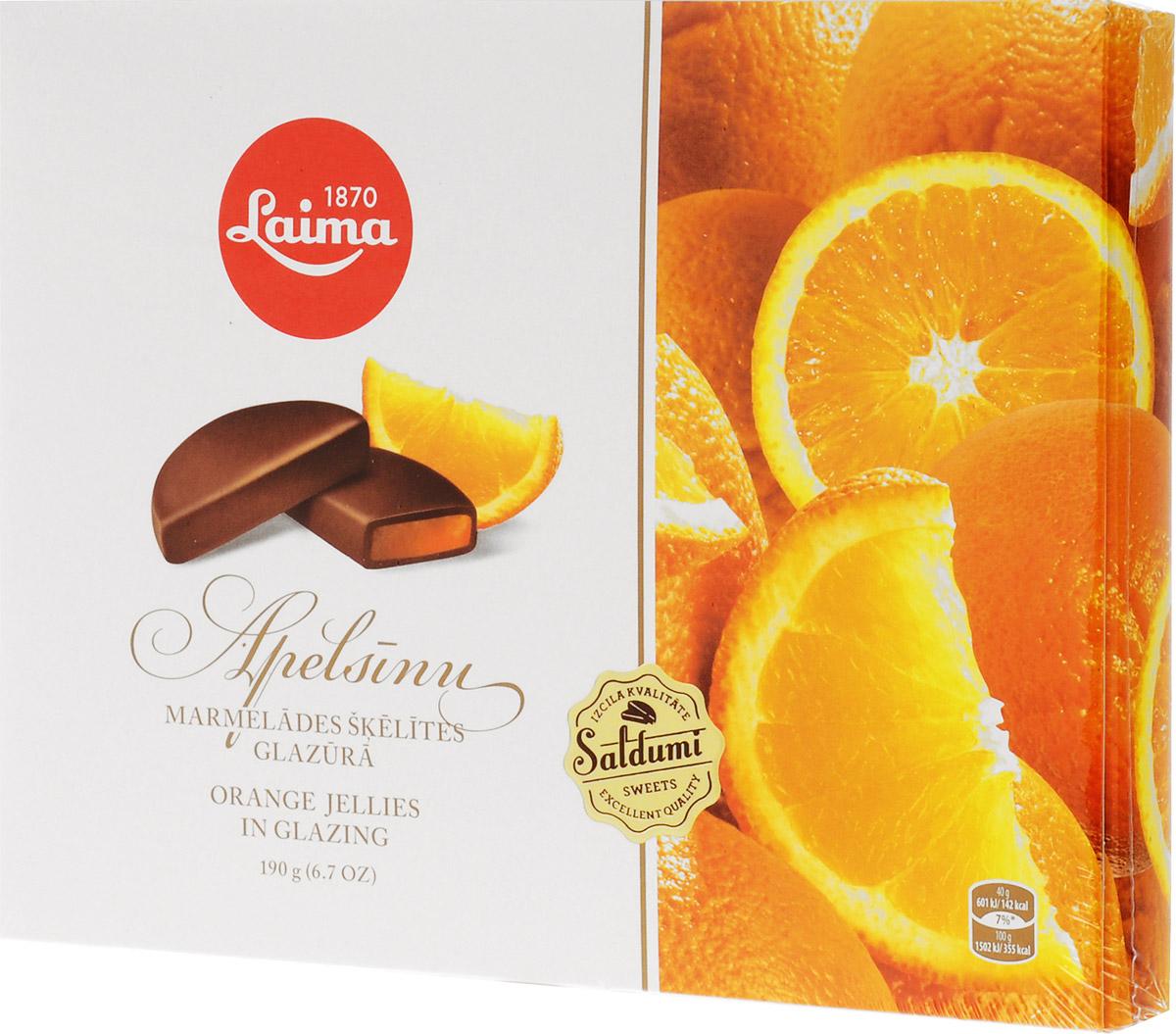 Laima Апельсиновые дольки в глазури мармелад в шоколаде, 190 г laima ассорти с ягодными начинками 210 г