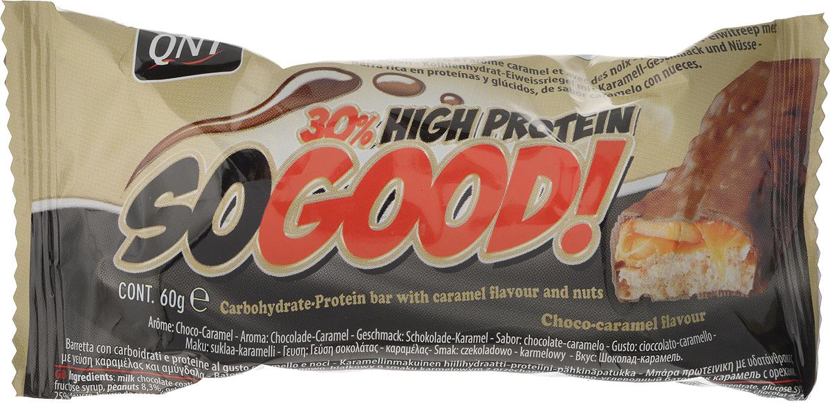 QNT Шоколадный батончик Кью Эн Ти СоГуд, Карамель, 60 гQNT1127SO GOOD BAR - это великолепный протеиновый батончик на молоке, который позволит Вам насладиться прекрасным сочетанием карамели и арахиса. Батончик очень сочный и содержит 30% сывороточного белка наряду со сбалансированной питательной ценностью. Как повысить эффективность тренировок с помощью спортивного питания? Статья OZON Гид