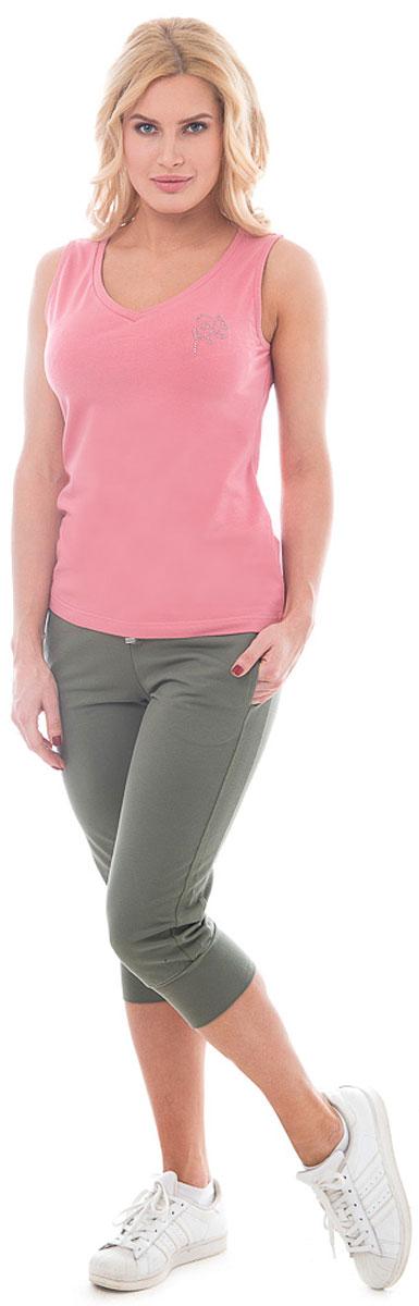 Майка женская BeGood, цвет: светло-розовый. BGUZ-971. Размер 50BGUZ-971-розовыйСтильная женская майка BeGood изготовлена из высококачественного эластичного хлопка приятного на ощупь. Модель свободного кроя с V-образным вырезом горловины на груди оформлена аппликацией из страз.Лаконичный дизайн изделия придется по вкусу и ценительницам спортивного стиля, и тем, кто стремится сделать свой образ элегантным и не перегруженным лишними деталями. Такая майка великолепно дополнит летний гардероб современной и уверенной в себе девушки.