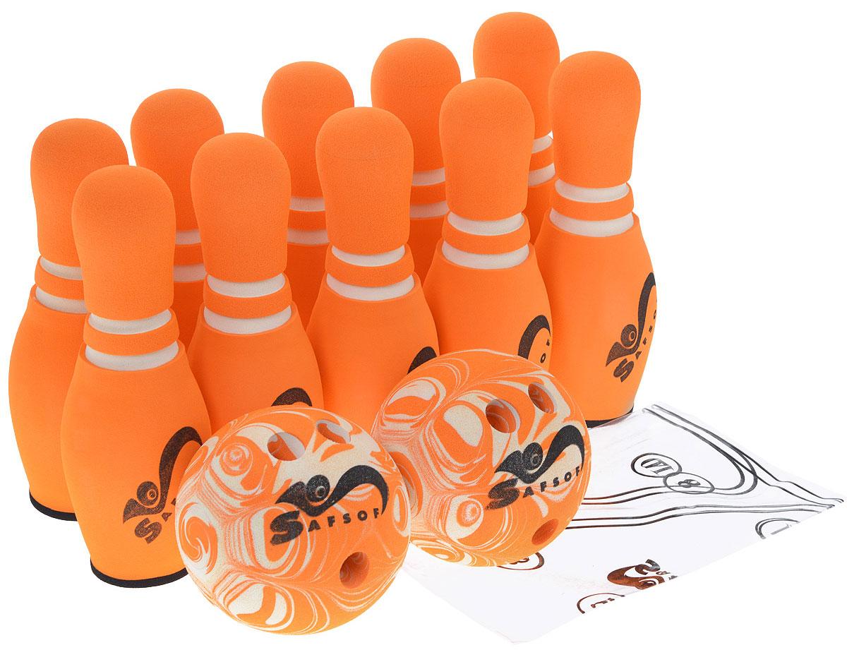 Safsof Игровой набор Боулинг цвет белый оранжевый диаметр шара 15,5 см рапид страйк нерф