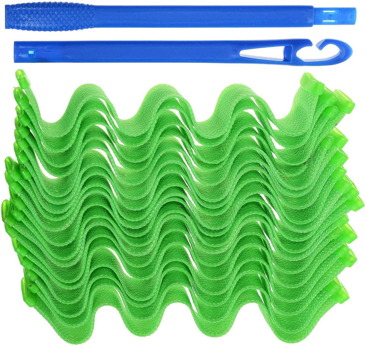 Magic Leverage Волшебные бигуди Волна, цвет: зеленый, 30 см, 18 шт