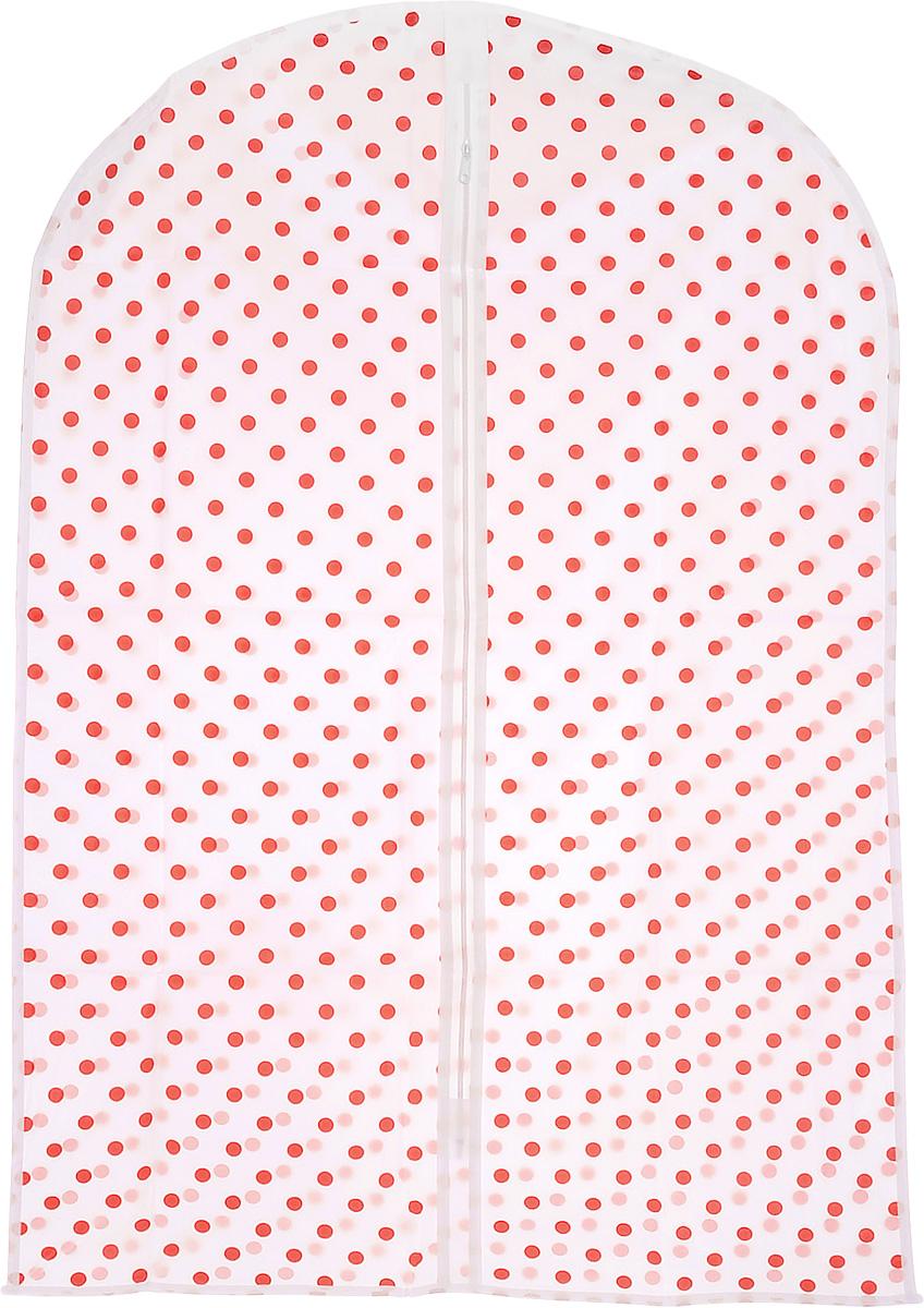 Чехол для хранения одежды Eva, цвет: белый, красный, 60 х 92 смЕ-16201_белый, красныйЧехол для одежды Eva выполнен из материала PEVA. Чехол обеспечивает вашей одежде надежную защиту от влажности, повреждений и грязи при транспортировке, от запыления при хранении. Изделие обладает водоотталкивающими свойствами, а также позволяет воздуху свободно поступать внутрь вещей, обеспечивая их кондиционирование. Закрывается на молнию. Можно стирать при температуре до 40°C.