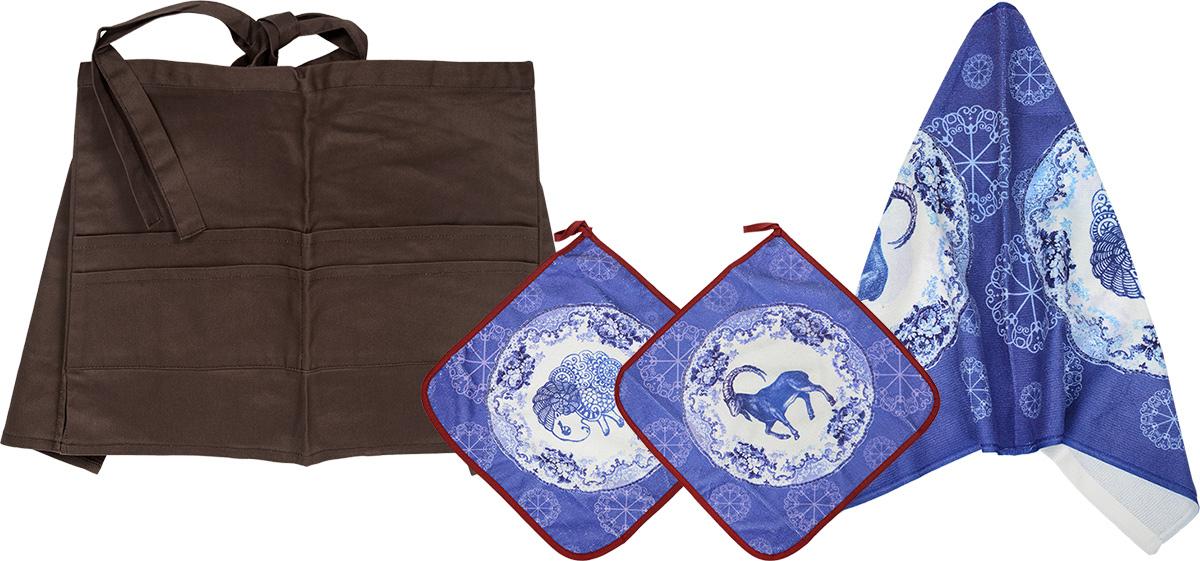 Комплект кухонный Soavita Овца, 4 предмета77518Комплект кухонный Soavita Овца состоит из полотенца, 2салфеток и передника. Полотенце и салфетки выполнены изполиэстера с добавлением полиамида и дополненыкрасочным рисунком. Салфетки по краю окантованы иснабжены петелькой. Изделия быстро впитывают влагу, легкостираются и обладают длительным сроком службы. Передникизготовлен из 100% хлопка, он снабжен завязками длякрепления на талии и 4 карманами для аксессуаров.В кухонном комплекте Soavita Овца есть весь необходимыйтекстиль для кухни. Такой набор порадует вас практичностьюи функциональностью, а стильный яркий дизайн гармоничнодополнит интерьер кухни.Размер салфеток: 30 х 30 см.Размер полотенца: 38 х 64 см.Размер передника: 67 х 32 см.