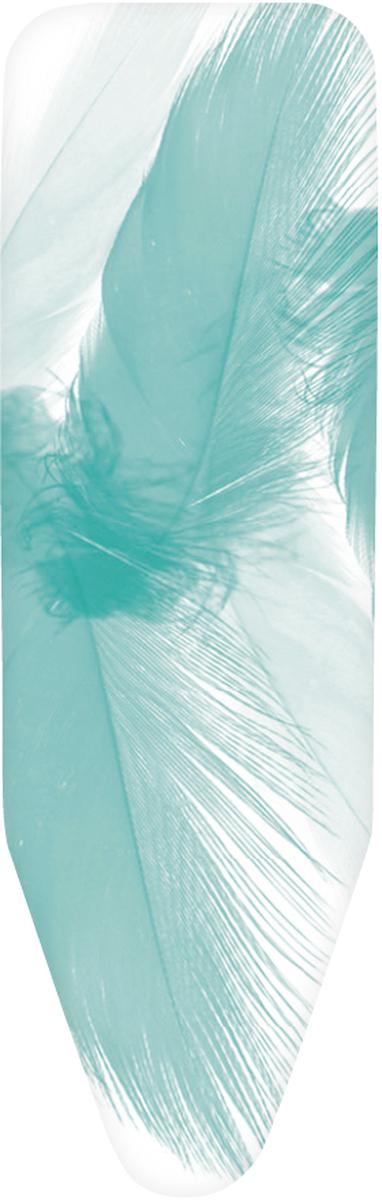 Чехол для гладильной доски Brabantia Perfect Fit. Перья, цвет: белый, бирюзовый, 2 мм, 124 х 38 см. 318122 чехол для гладильной доски brabantia ящерица с войлоком 124 см х 38 см цвет голубой 265006