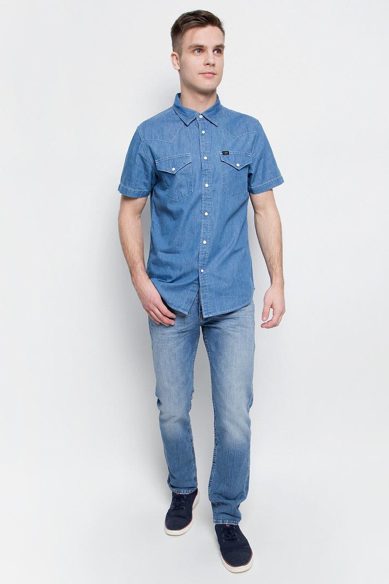 Рубашка мужская Lee, цвет: синий. L640SKCD. Размер XL (52)L640SKCD